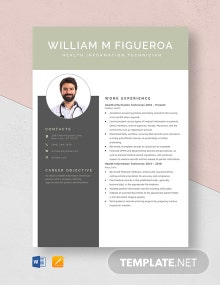 Health Information Technician Resume Template