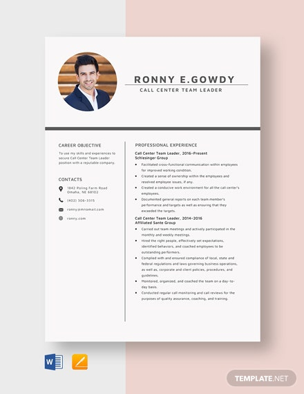 Call Center Team Leader Resume Template