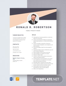 Family Practitioner Resume Template