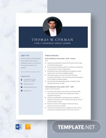 Family Readiness Group Leader Resume Template