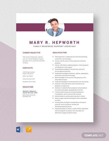 Family Readiness Support Assistant Resume Template
