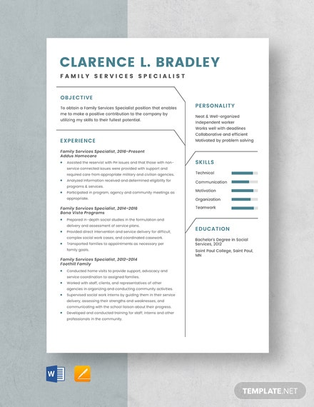 Family Services Specialist Resume Template