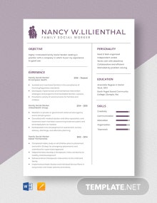 Family Social Worker Resume Template