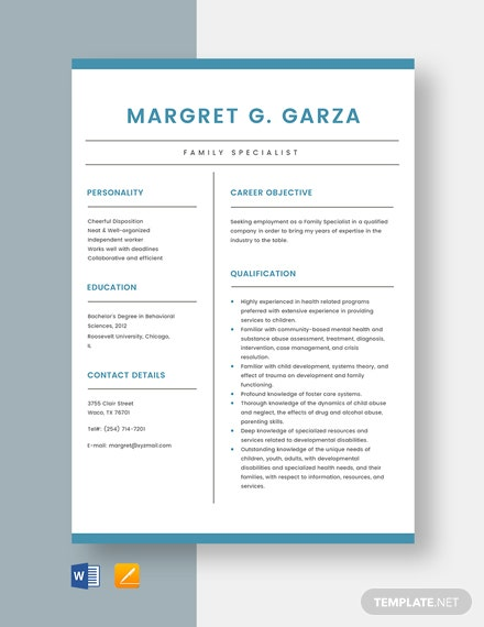 Family Specialist Resume Template
