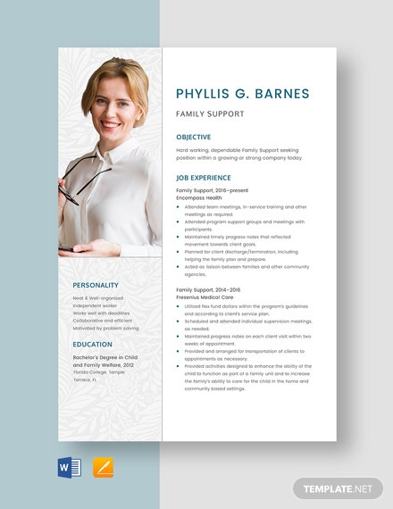 Family Support Resume Template