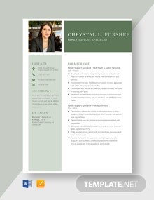 Family Support Specialist Resume Template