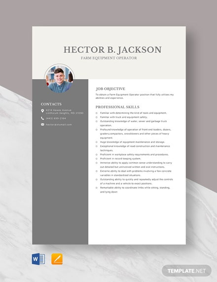 Farm Equipment Operator Resume Template