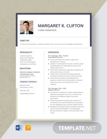 Farm Manager Resume Template