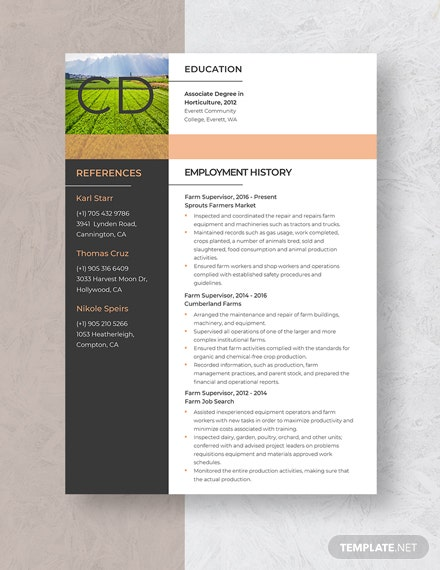Farm Supervisor Resume Template: Download 2892+ Resumes in