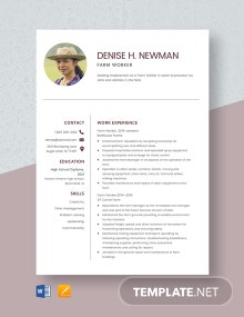 Farm Worker Resume Template