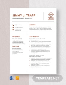 Farmers Market Manager Resume Template