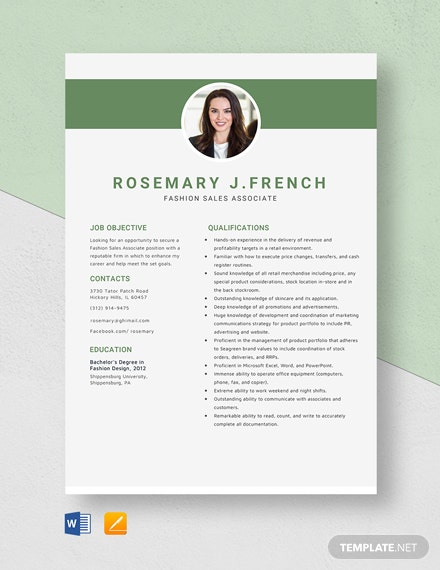 Fashion Sales Associate Resume Template