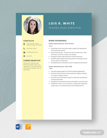 Fashion Sales Executive Resume Template
