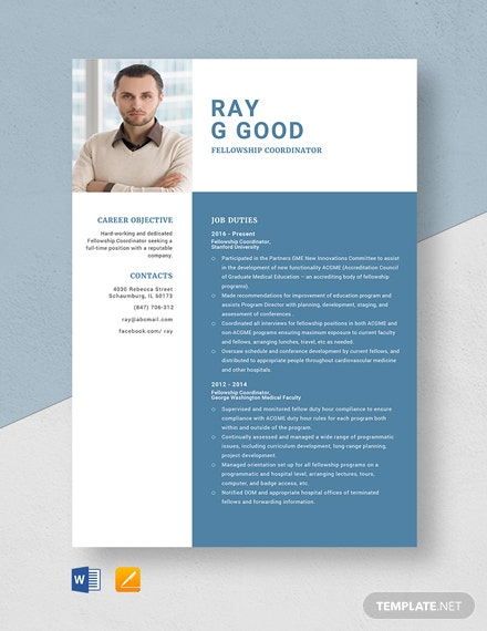 Fellowship Coordinator Resume Template