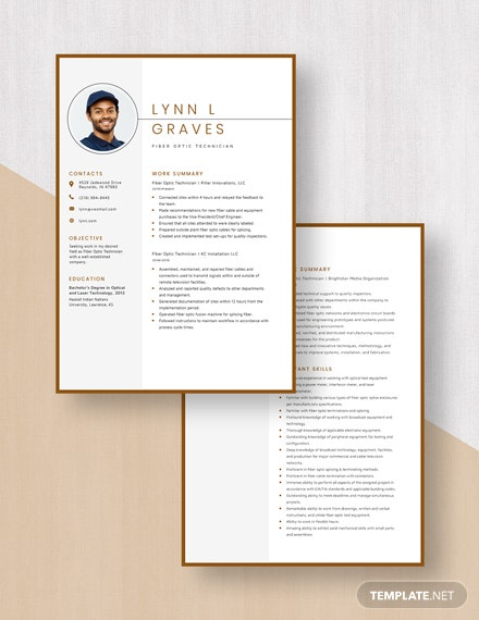 Fiber Optic Technician Resume Download
