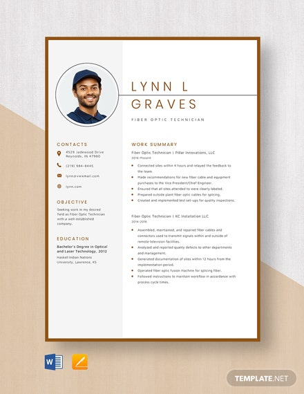 Fiber Optic Technician Resume Template