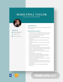 Field Application Scientist Resume Template