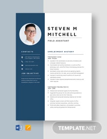 Field Assistant Resume Template