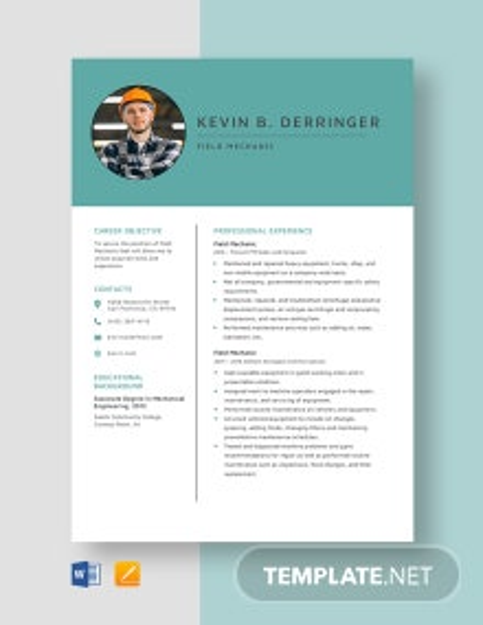 Field Mechanic Resume Template