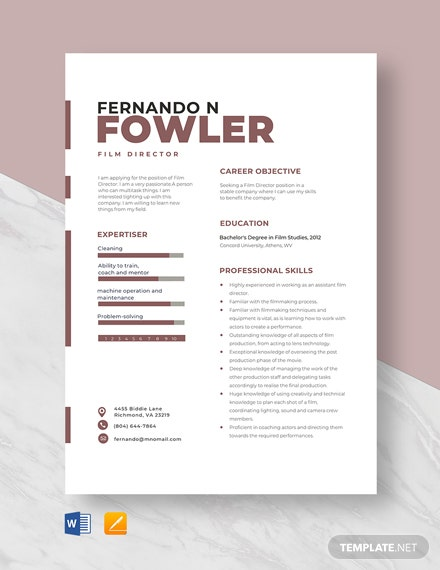 Film Director Resume Template