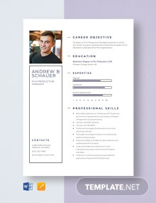 Film Production Manager Resume Template