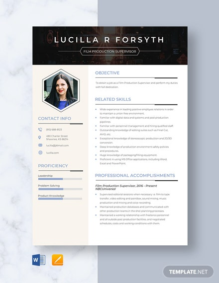 Film Production Supervisor Resume Template