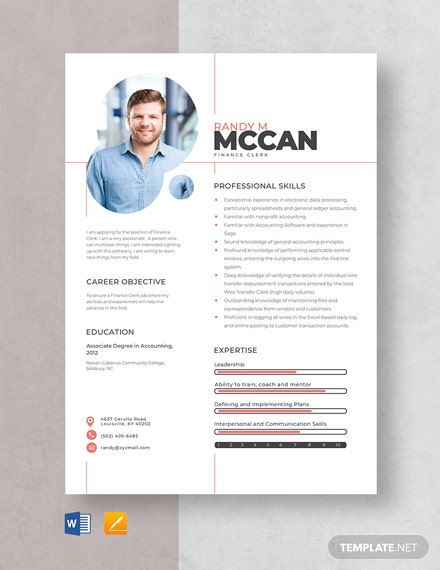 Finance Clerk Resume Template