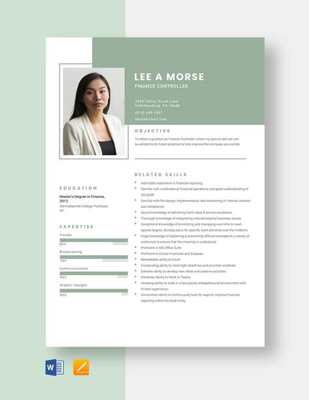 Finance Controller Resume Template