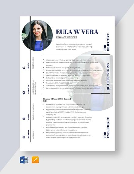 Finance Officer Resume Template