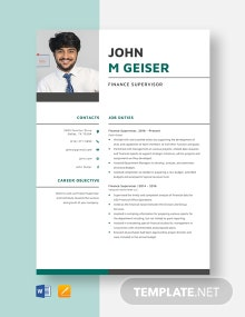 Finance Supervisor Resume Template