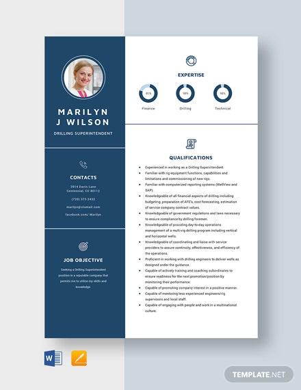 Drilling Superintendent Resume Template