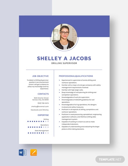 Drilling Supervisor Resume Template