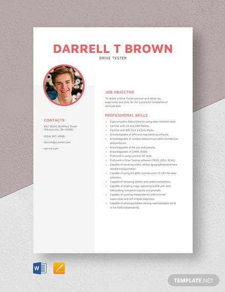 Drive Tester Resume Template