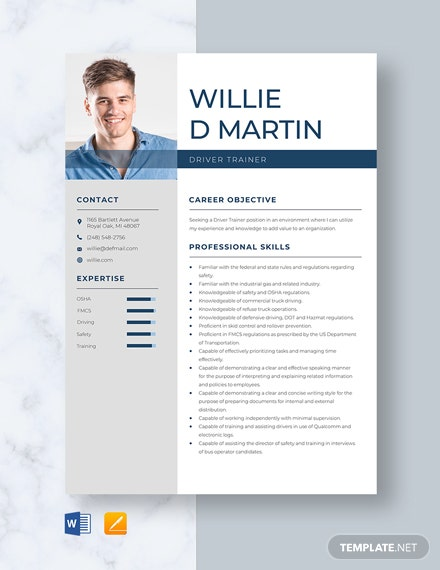 Driver Trainer Resume Template