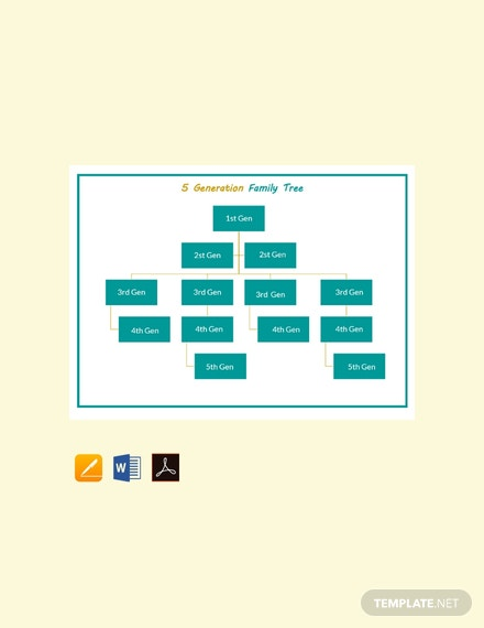 free sample 5 generation family tree template