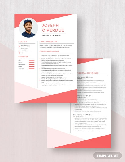Driver Utility Worker Resume Download