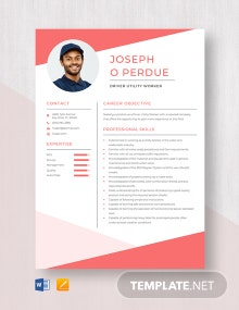 Driver Utility Worker Resume Template