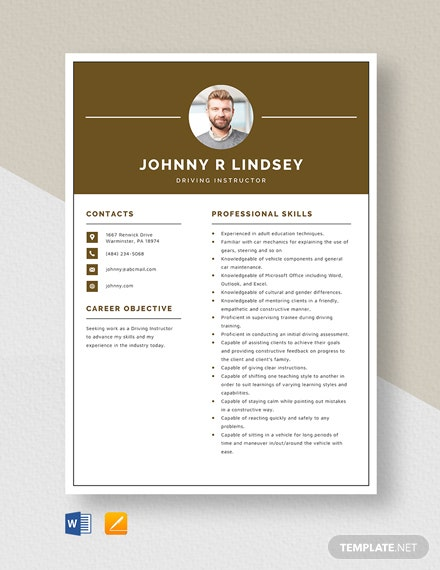 Driving Instructor Resume Template