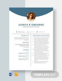 Elementary Education Teacher Resume Template