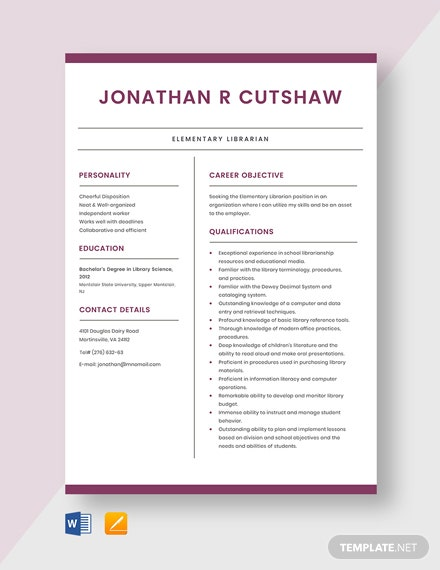 Elementary Librarian Resume Template