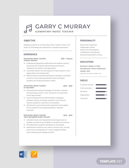 Elementary Music Teacher Resume Template