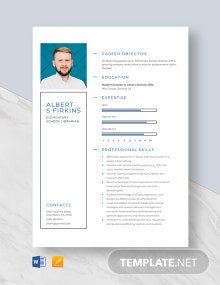 Elementary School Librarian Resume Template