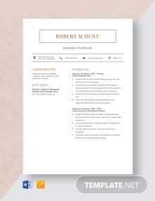 Engineer Technician Resume Template
