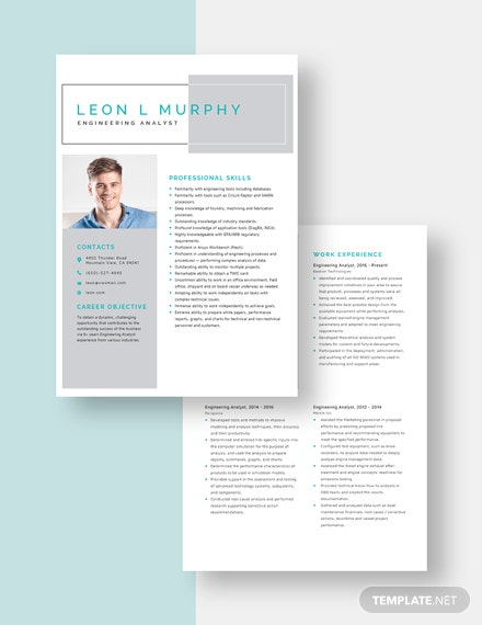 Engineering Analyst Resume Template [Free Pages] - Word, Apple Pages