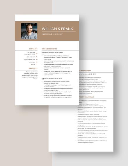 Engineering Consultant Resume Download