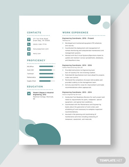 Engineering Coordinator Resume Template