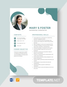 Engineering Coordinator Resume Template