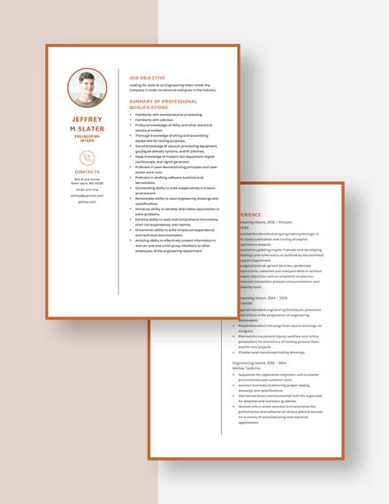 Engineering Intern Resume Download