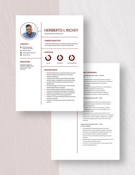 Engineering Specialist Resume Download