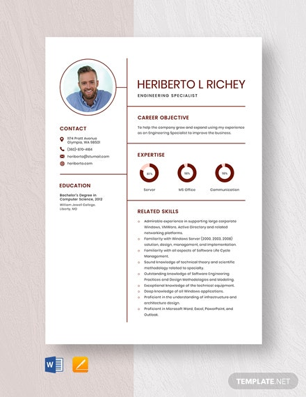 Engineering Specialist Resume Template